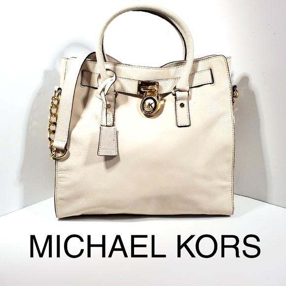 Michael Kors Handbags - Michael Kors Cream Leather Satchel Tote Bag